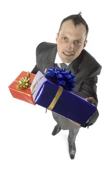 Free Man With Gifts Royalty Free Stock Photos - 1084358