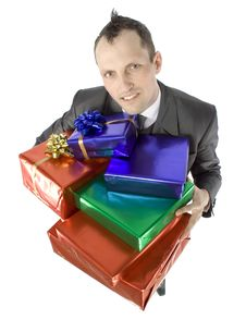 Free Man With Gifts Stock Image - 1084361