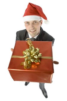 Free Man With Christmas Gift Royalty Free Stock Image - 1084366