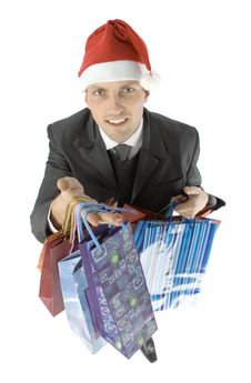Free Man With Christmas Gifts Stock Image - 1084371