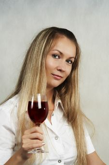 The Girl With A Glass Of Wine Stock Photo