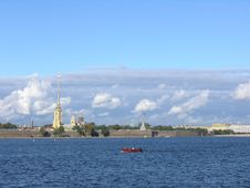 Peter And Pauls  Fortress Over Neva River In Saint-Petersburg Stock Photos