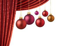 Red Chrismas Balls And Red Curtain Royalty Free Stock Photography