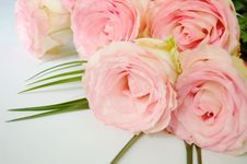 Free Bouquet Of Tender Pink Roses Lying Stock Photography - 10804802
