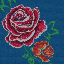 Free Denim Embroidery Rose Royalty Free Stock Image - 108245596