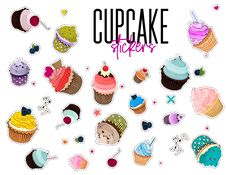Free Vector Multi Colored Bakery Stickers. Food Pin With Muffins. Cartoon Cupcake Set Patch. Sweet Dessert Summer Collection. Frosted B Royalty Free Stock Photos - 108517158