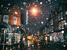 Free Rain Of Snow In Town Painting Stock Photo - 108798510