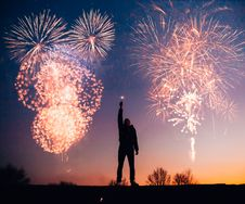Free Man With Fireworks Royalty Free Stock Photography - 108798557