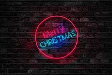 Free Turned On Red And Blue Merry Christmas Neon Sign Royalty Free Stock Image - 108798676
