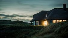 Free Gray House With Fireplace Surrounded By Grass Under White And Gray Cloudy Sky Stock Images - 108798764