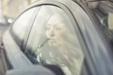 Free Woman Inside The Black Sedan At Daytime Royalty Free Stock Image - 108798766