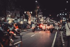 Free People Riding Motorcycles On Road During Night Time Stock Photography - 108799032