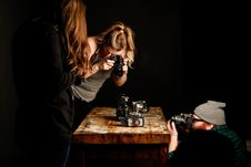 Free People Taking Pictures Of Vintage Cameras Royalty Free Stock Images - 108799099