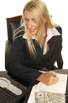 Beautiful Blonde Signing Contract Royalty Free Stock Photography