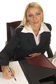 Beautiful Blonde Signing Contract Stock Photos