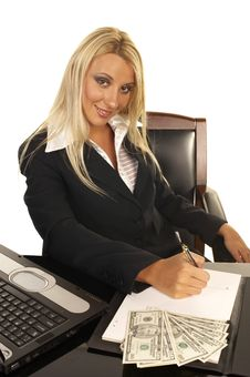 Beautiful Blonde Signing Contract Royalty Free Stock Image