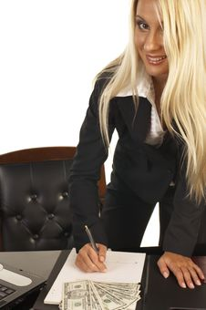 Beautiful Blonde Signing Contract Stock Photography