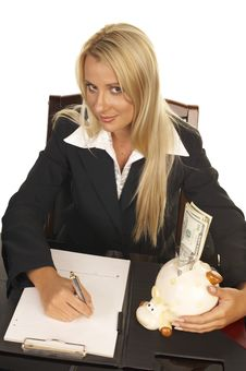 Beautiful Blonde Signing Contract Royalty Free Stock Images