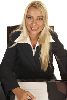 Beautiful Blonde Signing Contract Royalty Free Stock Photo