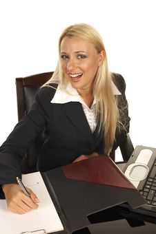 Beautiful Blonde Signing Contract Royalty Free Stock Photos