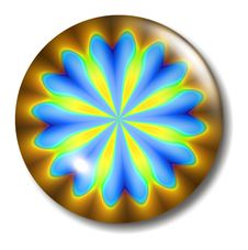 Blue Yellow Brown Flower Button Stock Photography
