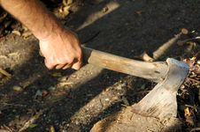Hand With Axe Royalty Free Stock Photography