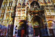 Free Rouen Cathedral Light Show 2 Royalty Free Stock Photos - 1098228