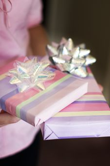 Free Woman Holds Presents Royalty Free Stock Photos - 1099188
