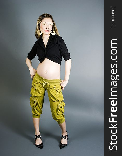 Seven months pregnant