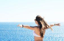 Free Woman Wearing White Bikini Top Standing Near Body Of Water Royalty Free Stock Photography - 109053437