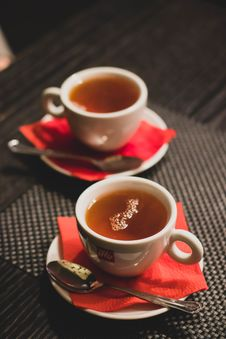 Free Cup Tea With Saucer And Teaspoon Stock Photo - 109299850