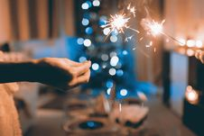 Free Close Up Photograph Of Two Person Holding Sparklers Stock Photos - 109333043