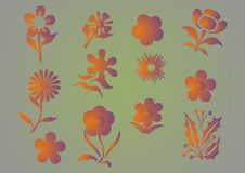 Free Vector Graphic Set With Flowers Royalty Free Stock Image - 10949186