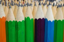 Colored Lead Pencils Macro Stock Image