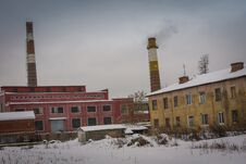 Old Factory In The Winter Royalty Free Stock Photography