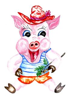Free Cartoon Pig Art Stock Photography - 109639912
