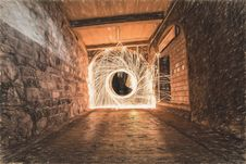 Free Sparks In Tunnel During Daytime In Time Lapse Photography Royalty Free Stock Photos - 109885178