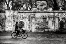 Free Woman Wearing Jacket And Pants Riding On Bicycle Near Concrete Wall Greyscale Photo Stock Image - 109885351