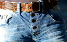 Free Blue Denim Button Up Bottoms With Belt Stock Photo - 109885540