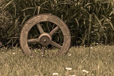 Free Brown Wooden Wheel On Top Of Green Grass Royalty Free Stock Image - 109885926