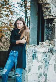 Free Woman In Black Scarf Cardigan And Shirt Stock Image - 109885991