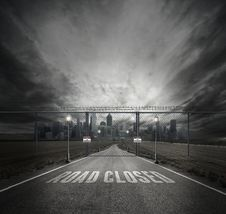 Free Grayscale Photo Of Road Closed On Roadway With Gray Fence Gate In Front Of City Stock Image - 109886131