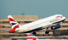 Free White British Airways Taking Off The Runway Stock Photography - 109886142