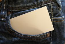 Free White Card On Gray Denim Pants Pouch Royalty Free Stock Photography - 109886237