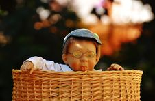 Free Baby Doll Wearing Eye Glasses Inside The Brown Wicker Basket Royalty Free Stock Images - 109887469