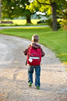 Free Boy In Brown Hoodie Carrying Red Backpack While Walking On Dirt Road Near Tall Trees Royalty Free Stock Photo - 109887615
