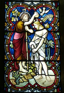 Free Baptism Of Jesus Christ Stained Glass Stock Images - 109887634