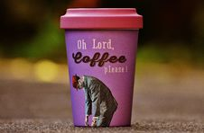 Free Oh Lord Coffee Please Purple And Pink Cup Royalty Free Stock Photos - 109887708