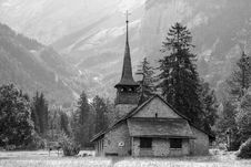 Free Church In The Open Field Near The Mountain Royalty Free Stock Photography - 109888187