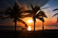 Free Beach, Sunset, Bench Royalty Free Stock Photo - 109888655